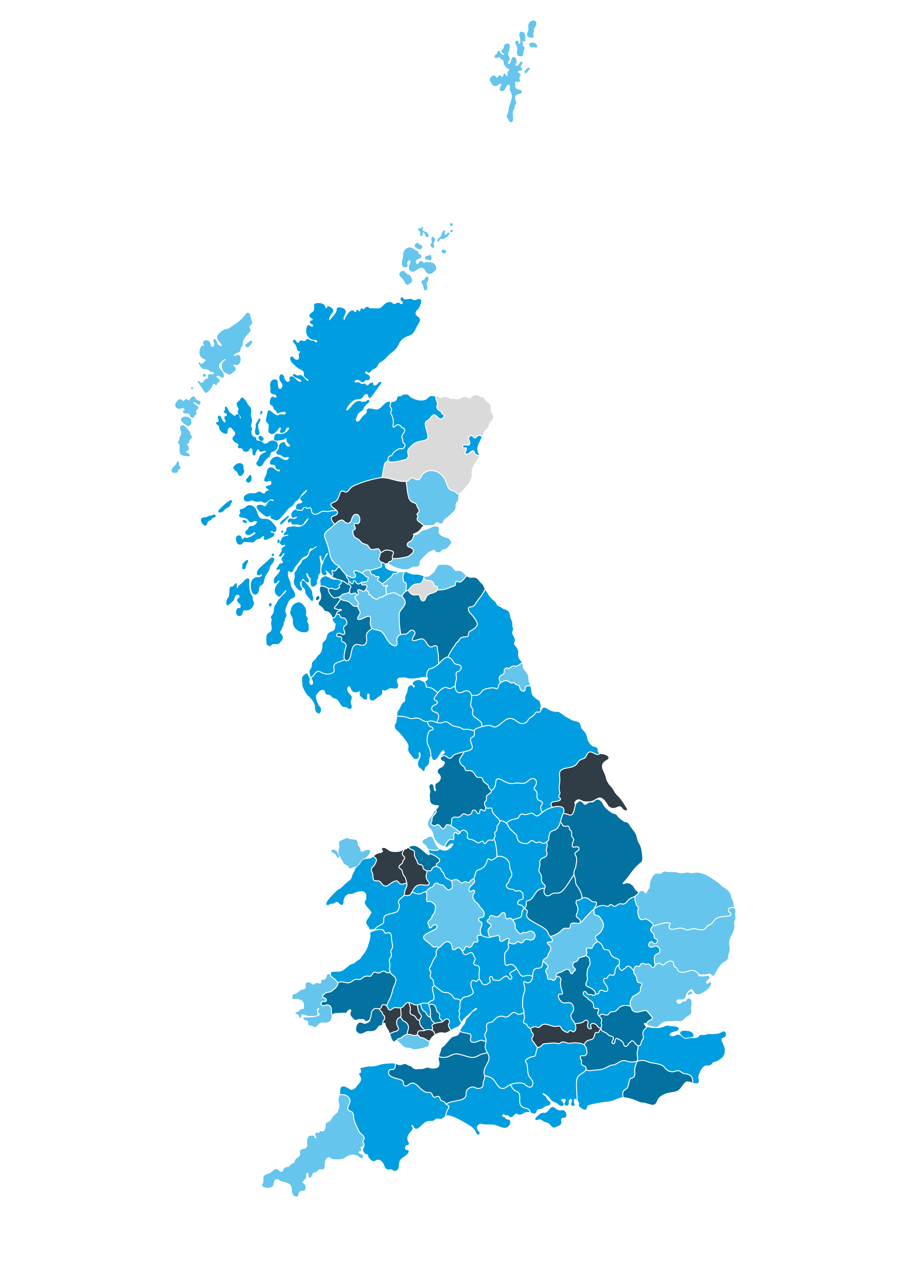 Map of the UK with different regions shaded blue to indicate flood risk